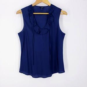 Talbots 100% Silk Navy Blue Sleeveless Blouse